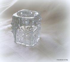 Candleholder from Sklo Union, Rosice by Vladimir Urban. Kosta Boda, Glass Candle Holders, Midcentury Modern, Vintage Items, Perfume Bottles, Shapes, Urban, Pattern, Etsy