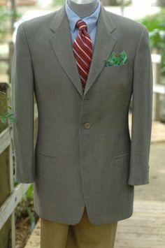 Giorgio Armani $1495 Stone Gray Twill Wool & Silk Coat Blazer 42L 42 L #GiorgioArmani #ThreeButton