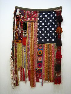 """Flag #19 Memories Without Recollection 2008 by Sara Rahbar Mixed media textile 203.2 x 116.8cm  Part of the exhibition """"Unveiled: New Art from the Middle East"""""""