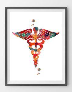 Medicine symbol Caduceus watercolor print caduceus by MimiPrints