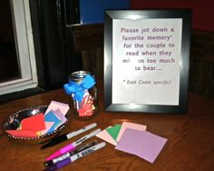 Going Away Party Idea - Collect Memories From Guests To Leave Send Off With Your Pals! Supplies: mason jar, pens or markers, colored paper squares, framed instructions...