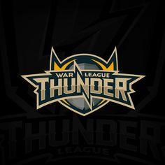 """War thunder league"" world online tournament logo on behance lightning logo, video game Team Logo Design, Web Design, Game Design, Brand Design, Graphic Design, Monogram Logo, Lightning Logo, Esports Logo, War Thunder"