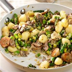 Chicken Sausage & Gnocchi Skillet Recipe -I had a bunch of fresh veggies and combined them with sausage, gnocchi and goat cheese when I needed a quick dinner. Mix and match your own ingredients for unique results. —Dahlia Abrams, Detroit, Michigan