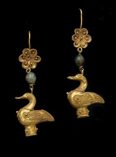 Pair of earrings with Goose Pendant 4th–1st century BC. Hellenistic. Gold with green glass. Greek. | The Museum of Fine Arts, Houston.