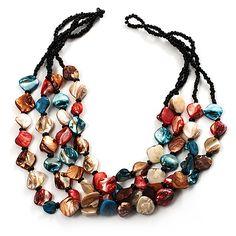 3 Strand Multicoloured - Composite Bead Necklace - main view