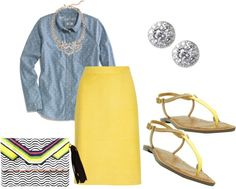 """Polka dot chambray and yellow"" by stylish2 ❤ liked on Polyvore"