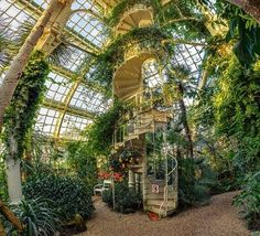 Palmenhaus Schönbrunn – The Palm Greenhouse hides a former imperial plant collection. In a three-part 113 m long greenhouse building, tunnel corridors are divided into different climatic zones where exotic plants thrive well. Beautiful Architecture, Architecture Design, Landscape Architecture, Dream Garden, Home And Garden, Mexican Hacienda, Nature Aesthetic, My Dream Home, Future House