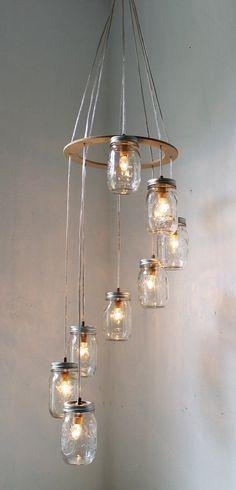 Spiral Mason Jar Chandelier, Rustic Hanging Pendant Lighting Fixture
