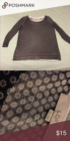 Sweater Super cute 3/4 sleeves. Worn once!  Like new condition! LOFT Sweaters Crew & Scoop Necks