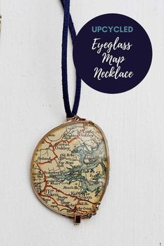 This is a fun personalized handmade gift, repurpose someones old glasses and a road map into a unique personal necklace. #upcycle Zodiac Signs Pictures, Diy Jewelry, Jewelry Making, Jewelry Ideas, World Map Necklace, Personalised Gifts Handmade, Map Crafts, Printable Maps, Printables