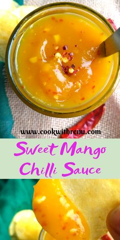 Sweet Mango Chilli Sauce - Cook With Renu Sweet Mango Chilli Sauce is a fuss free 10 min lip smacking and a tongue tickling recipe that goes well with chips, starters as a spread or as a dressing. Vegan Sauces, Healthy Sauces, Homemade Sauce, Canning Recipes, Juicer Recipes, Detox Recipes, Sweet And Spicy, Sauce Recipes, Curry Recipes