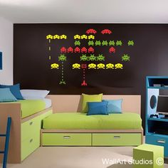 Space Invaders | Wall Art Studios Bedroom Wall, Kids Bedroom, Bedroom Decor, Home Wall Colour, Classroom Background, Boy Wall Art, Red Olive, Color Feel, Retro Games