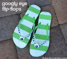 Googly Eye Flip-Flops by dollarstorecrafts.com