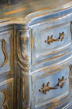 Aubusson Blue with Provence, Duck Egg, Paris Grey and French Linen - stunning! Office desk or armoire