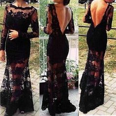 S-XL Sexy HOT Lace Splice Backless Sheer Mermaid Prom Maxi Long Ball Gown Dress