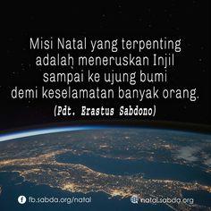 #misi #Natal #penting #meneruskan #Injil #bumi #keselamatan #orang #Eratus_Sabdono #sabdanatal