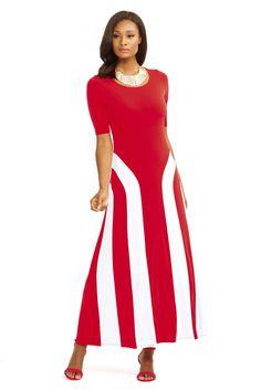 768bf6cf5c65c1 Elbow Sleeve Side Stripe Maxi Dress