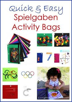 Spielgaben activity bags are quick and easy to prepare, adaptable for a variety of ages, and lightweight for traveling or waiting. Post includes the Montessori Monday linky collection.