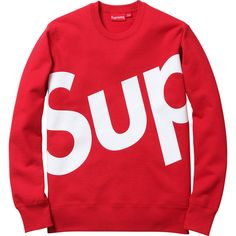 Supreme Sup Crewneck ❤ liked on Polyvore featuring tops, sweaters, shirts, sweatshirt, crewnecks, shirt sweater, crew-neck shirts, red crew neck sweater, shirt top and crew shirt