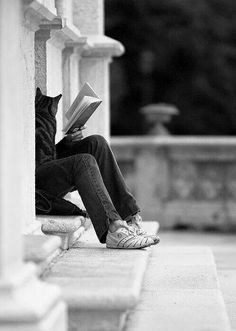 Reading with cat.