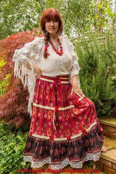 Crimson Gypsy Peasant Skirt by RagsForGypsies on Etsy