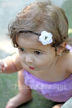 White Bitty Rose on BLACK Bitty Baby Headband