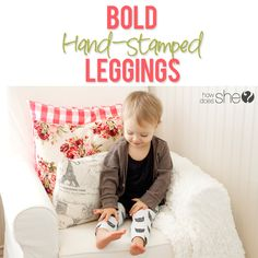 Make your own patterned, hand-stamped leggings with this easy tutorial!