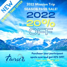 After a limited season of ministry for teams, we want to offer an opportunity for you to save and plan ahead for 2022! Limited Time Offer - 2022 Season Passes Still Available @ 20% off! Contact Us for more information! #thirstmissions #contactus #alaska #belize #appalachia #puertorico #missions #missiontrip #GO #serve #alaskamissiontrip #youthmissiontrip #belizemissiontrip #puertoricomissiontrip #appalachiamissiontrip #seasonpass Belize, Ministry, Puerto Rico, Alaska, Opportunity, Seasons, How To Plan, Seasons Of The Year