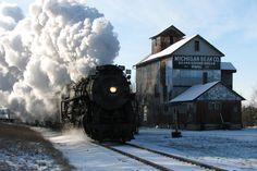 Steam Locomotive at the Michigan Bean Elevator in Saginaw, Michigan