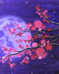 "April 2016 Featured Painting: ""Cherry Blossom Moonlight"" by Paint Nite Boston artist Lindsay Webber. PaintNite.com"