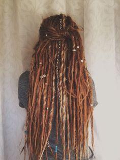 34 Synthetic Dreadlocks DE dread extensions Double Ended Synthetic dreads auburn dreads & 24 Dreadlock Hairstyles, Cool Hairstyles, Pelo Rasta, Rasta Hair, Double Ended Dreads, Dreads Girl, Dreads Women, Hippie Dreads, Hippie Hair