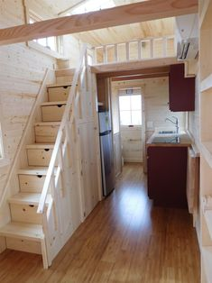 Senior citizens are moving into tiny homes now Seniors are finding freedom in the tiny-house lifestyle. Tiny House Stairs, Shed To Tiny House, Tiny House Loft, Building A Tiny House, Tiny House Trailer, Tiny House Plans, Tiny House Design, House Floor, Tiny House Company