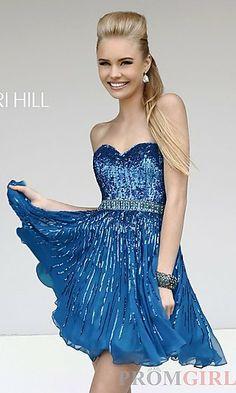 Short Sequin Strapless Dress by Sherri Hill 8528 at PromGirl.com