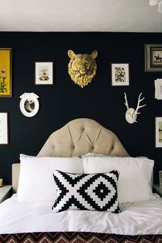 A black bedroom. In love!   Read more - http://www.stylemepretty.com/living/2013/09/23/flora-faunas-home-tour/
