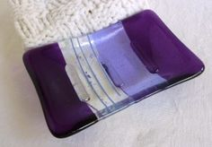 Violet and Lavender Fused Glass Soap Dish
