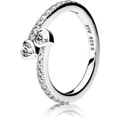 Pandora Ring - Sterling Silver & Cubiz Zirconia Forever Hearts ($80) ❤ liked on Polyvore featuring jewelry, rings, heart jewelry, heart ring, pandora rings, sterling silver rings and sterling silver jewellery