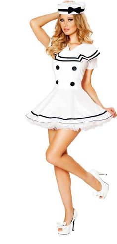 5ce7a417424c2 Sexy Classic Navy Mariner Sailor Girl Dress Halloween Costume Outfit Adult  Women