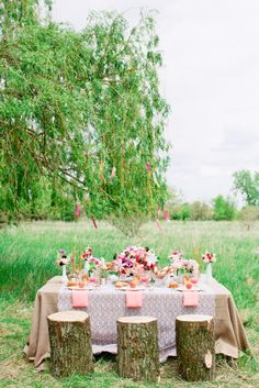 Fallen tree-stump seating: http://www.stylemepretty.com/2015/04/22/unique-ideas-for-an-eco-chic-wedding/