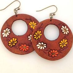 tooled leather earrings - Google Search