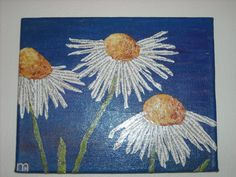 "torn paper art projects | Torn Paper Collage - Daisies 8"" x 10"" - Recycled Paper…"