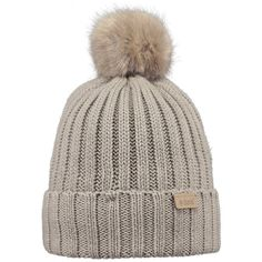 Barts Linda Beanie with faux fur pompom, in Taupe