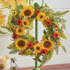 Floral Wreath Sunflower and Daisies