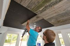 How to Install a Reclaimed Wood Ceiling Treatment Wood Ceilings, Wood Walls, Wood Wood, Barn Wood, Diy Wood, Ceiling Treatments, Diy Network, Home Reno, Fixer Upper