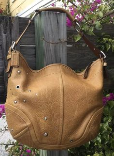 Coach Soho Studded Hobo Shoulder Butterscotch Tan Pebbled Leather F10932 in Clothing, Shoes & Accessories, Women's Handbags & Bags, Handbags & Purses   eBay