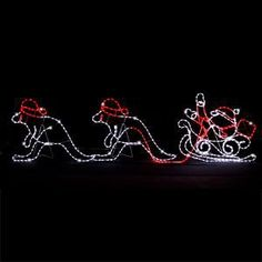 Christmas Ropelight Sleigh with 2 Kangaroos 2.7m