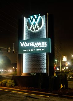 This large monument sign includes a water feature for an eye-catching view.