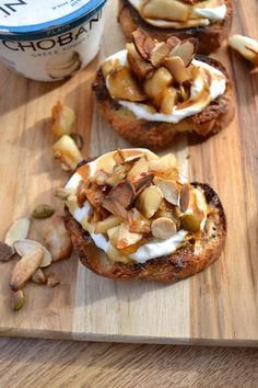 This Plain Chobani bruschetta is perfect as a tailgating appetizer, breakfast treat or even as a little celebratory dessert after your team wins! Your tailgate just got breakfast-ified! Tailgate Appetizers, Tailgating, Yummy Treats, Yummy Food, Antipasto, Bruschetta, Food And Drink, Tasty, Favorite Recipes