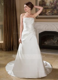 Wedding Dresses - $174.99 - A-Line/Princess Strapless Chapel Train Satin Wedding Dress With Ruffle Lace Beadwork (002012609) http://jjshouse.com/A-Line-Princess-Strapless-Chapel-Train-Satin-Wedding-Dress-With-Ruffle-Lace-Beadwork-002012609-g12609?ver=xdegc7h0