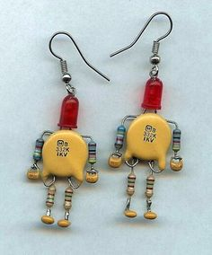 Amazing earrings made from computer parts...   Too cute.