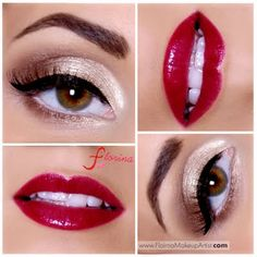 Sheer Elegance by Florina U. Click the pic to see the products she used. #eyemakeup #redlips #YouCanDoThisBeauty @Laura Geller Beauty